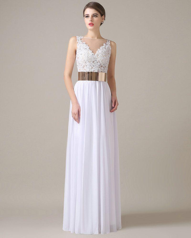 Vestido de noche blanco con dorado