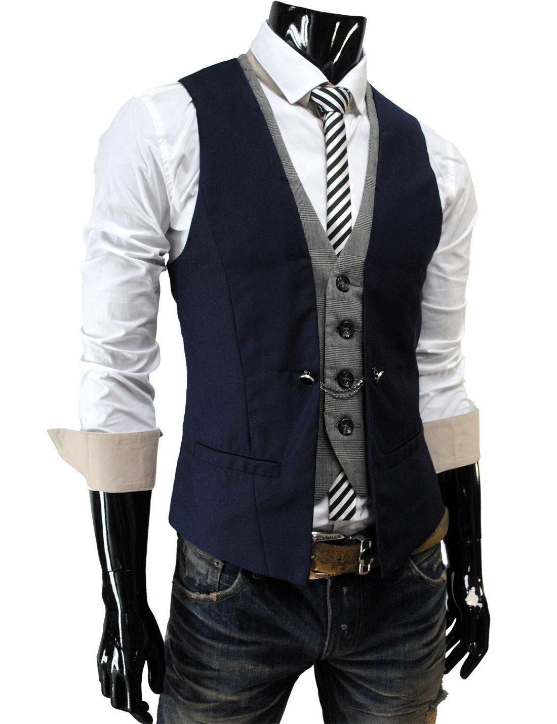 Chaleco De Hombre Color Azul Marino By Thelees Jpg 1100 1430 Chalecos De Moda Hombre Moda Ropa Hombre Estilo De Ropa Hombre
