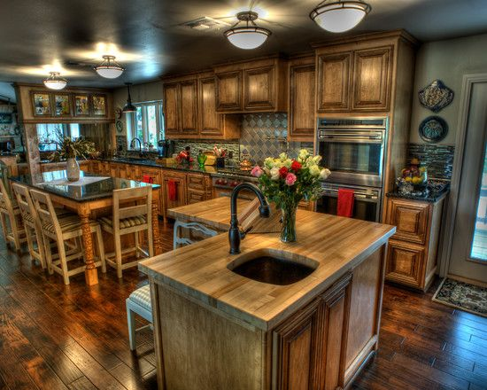 Fascinating Kitchen Interior With Wood Material : Gorgeous Kitchen Design With Mushroom Ceiling Lamps Cook's Family Kitchen