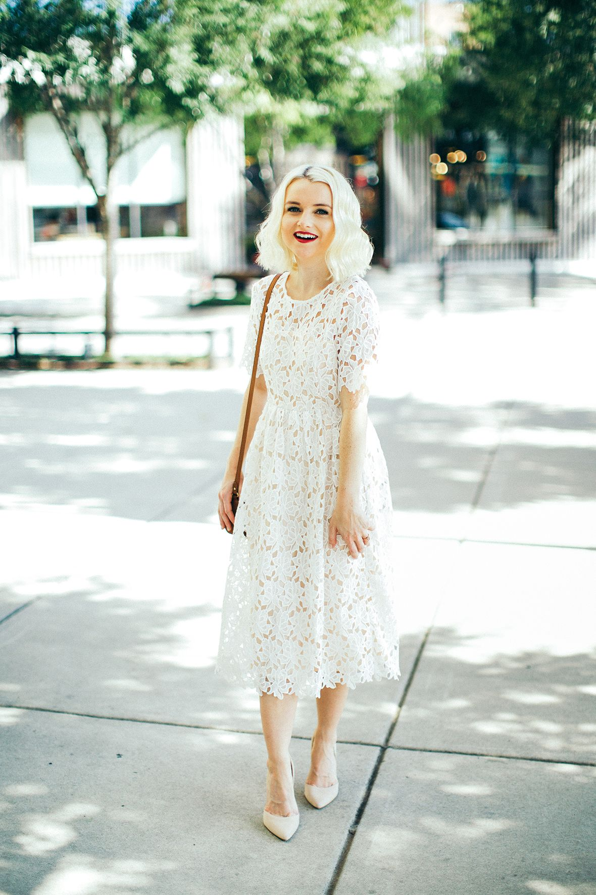 White midi length dresses