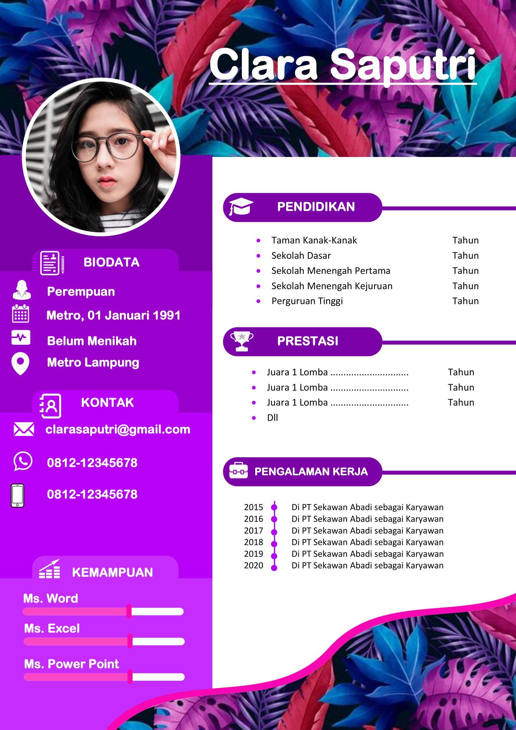 Desain CV Kreatif Gratis 2020 di 2020 Desain cv, Cv