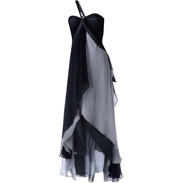 Musani Couture Long Dress ($320) ❤ liked on Polyvore featuring dresses, black, sleeveless long dress, zip dress, long slit dress, stitching dresses and zipper dress