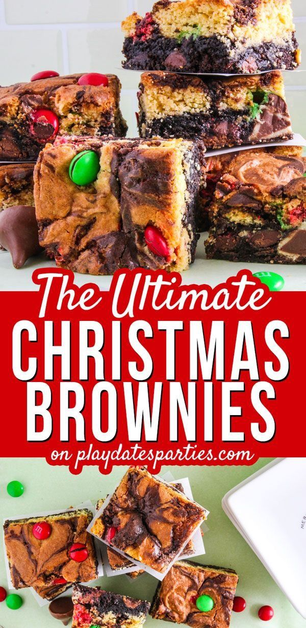 Double Decker Triple Stuffed Christmas Brownies