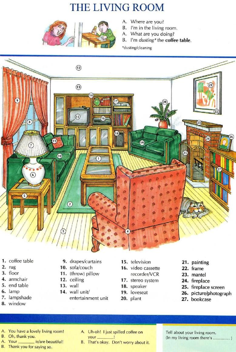 10 the living room pictures dictionary english study explanations free exercises