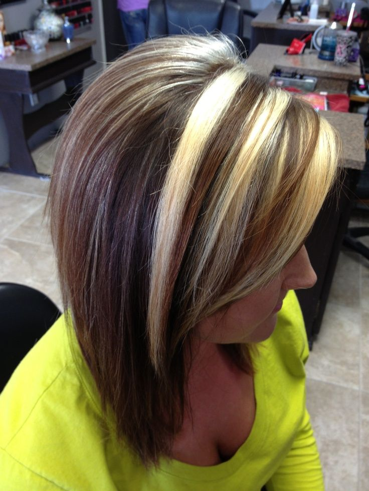 Dark Brown Hair With Chunky Blonde Highlights Chunky Blondes By
