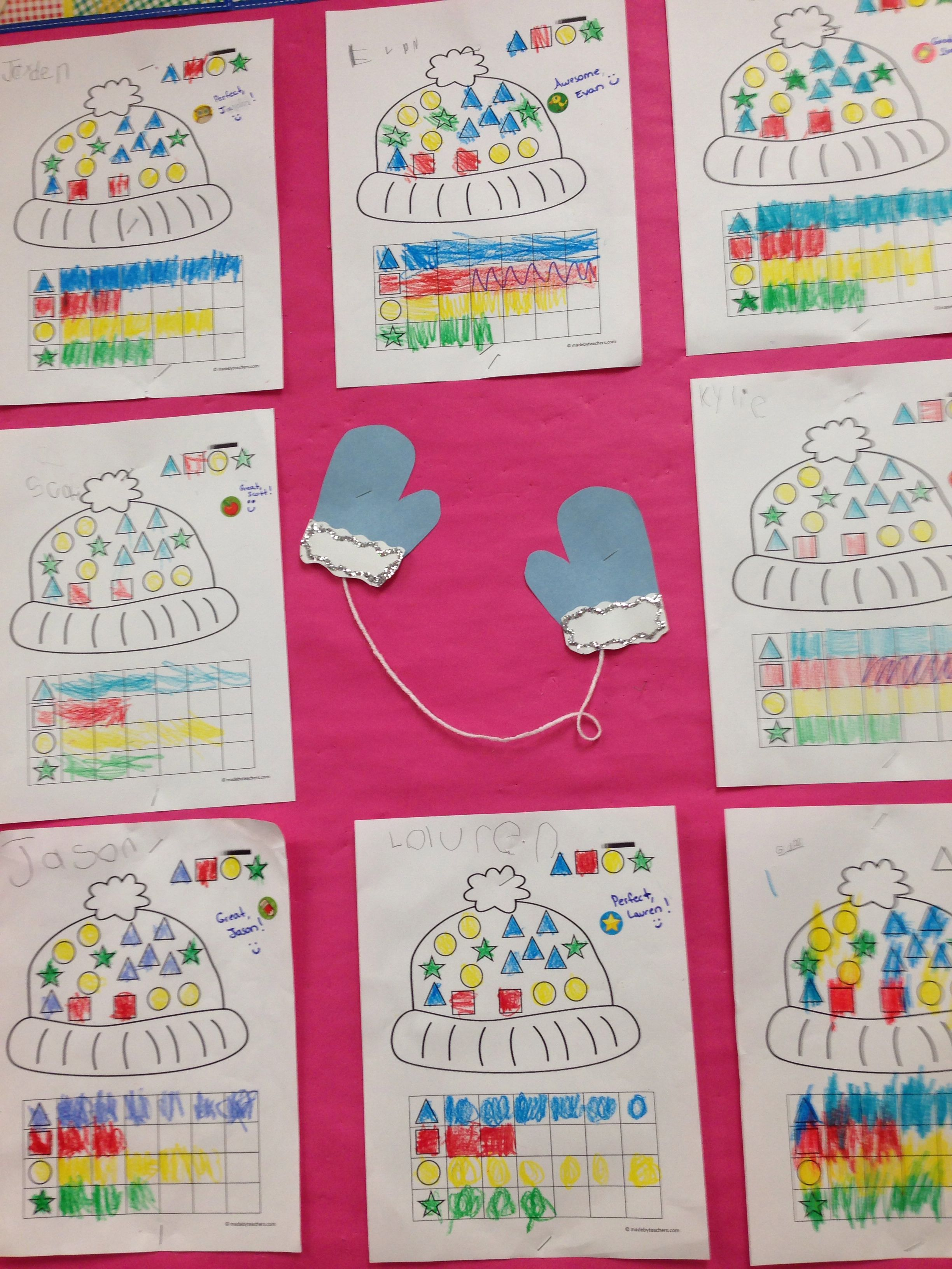 Winter Math Board With A Graphing Shape Worksheet