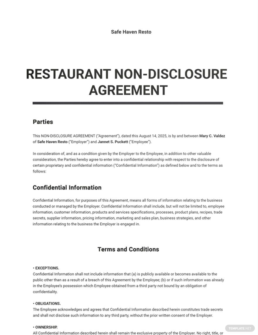 Restaurant Non Disclosure Agreement Template Free Pdf Google Docs Word Apple Pages Pdf Template Net Non Disclosure Agreement Agreement Templates Simple non disclosure agreement template