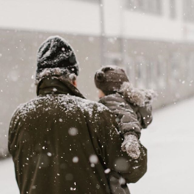 Two years ago; my father carrying my daughter through gently falling snow 🌨