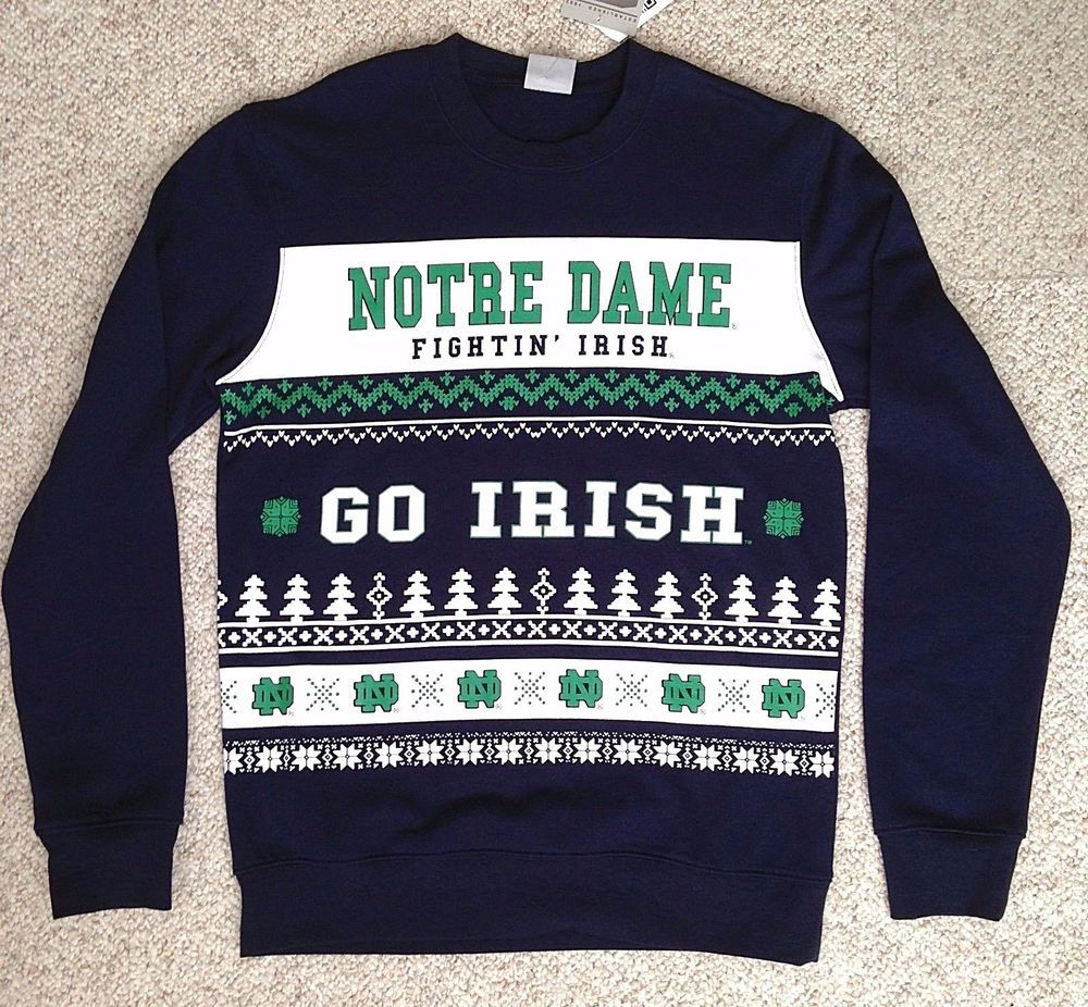 $54 NOTRE DAME FIGHTIN\' IRISH SWEATSHIRT Navy Crew\