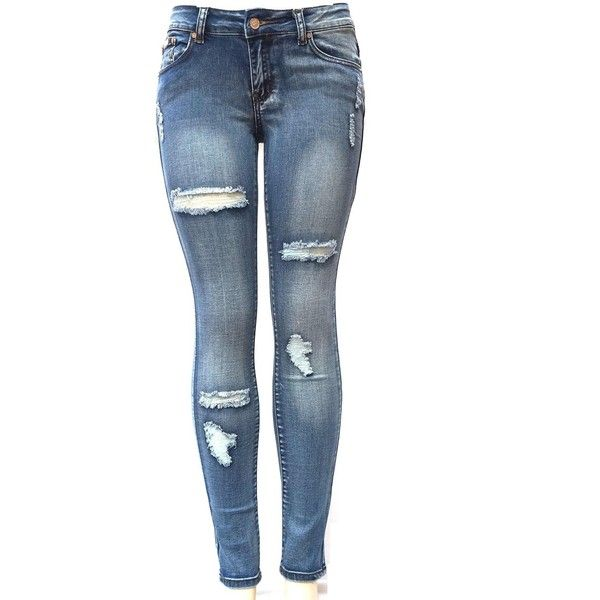 J&C 1826 WOMENS BLUE Denim Stretch JEANS Destroy Skinny Ripped... ($20) ❤ liked on Polyvore featuring jeans, blue jeans, ripped jeans, torn skinny jeans, destroyed skinny jeans and distressed jeans