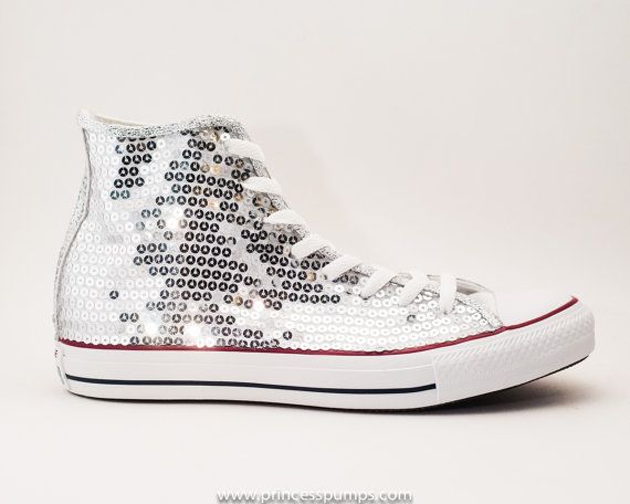 b7f66dda045d Sequin argent Converse Canvas All Star Hi Top par princesspumps