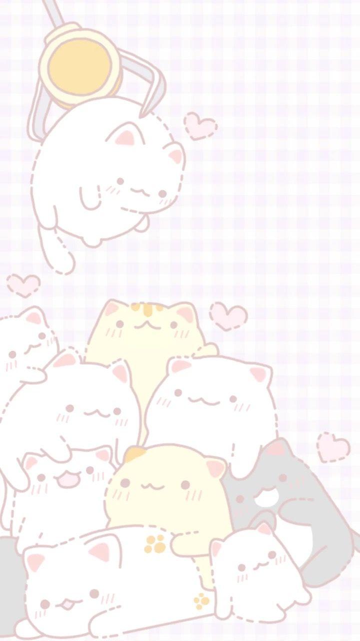 Kitties Follow Rosedoves For More Cute Cat Illustration Cute Anime Wallpaper Cute Pastel Wallpaper