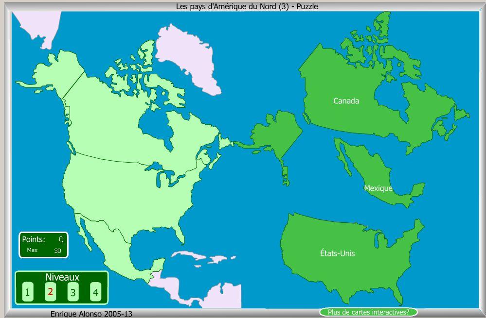 Carte Amerique Interactive.Jeu Carte Interactive Puzzle De L Amerique Du Nord