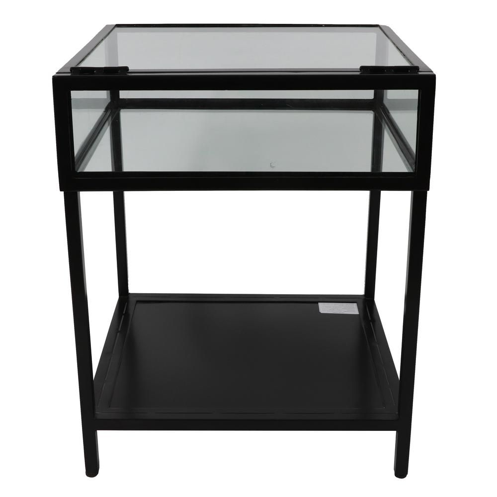 Decor Therapy 25 In Clear Glass And Black Metal End Table Fr8843 The Home Depot Metal End Tables Decor Therapy Glass End Tables [ 1000 x 1000 Pixel ]