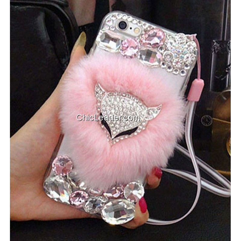 best cheap 8633f 4dbe1 Cute Fuzzy Rabbit Fur Crystal Fox Case Cover for iPhone 6 Plus / 6S ...