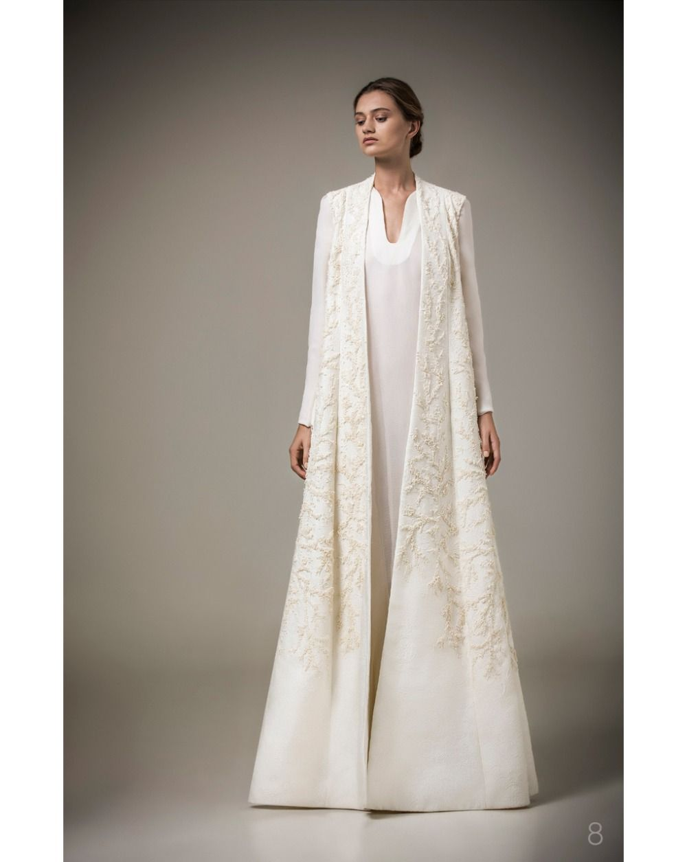 d44da3bd39171 Elegant White Long Sleeve Muslim Arab Robe Formal Evening Dresses ...