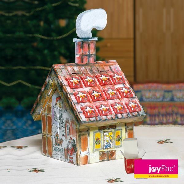 """Adventshaus """"Nikolaus"""" von #joyPac® ● Das #Adventshaus wird mit leichten Handgriffen aufgerichtet und anschließend können die 24 Schachteln mit vielen kleinen #Überraschungen befüllt werden. Der Kamin kann als Beschriftungsfeld verwendet werden. Auch als schöne #Tischdekoration verwendbar. ● #Wellpappe, #Karton, #Kreativ, #Advent, #Weihnachten, # Adventskalender"""