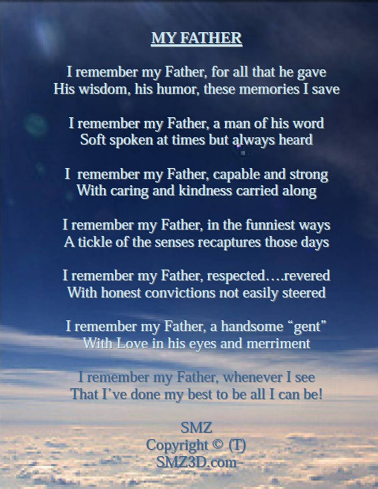 Image result for My Father | Dad poems, Fathers day wishes ...