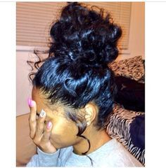 High Messy Bun With Weave Google Search Curly Hair Styles Naturally Hair Styles Natural Hair Styles
