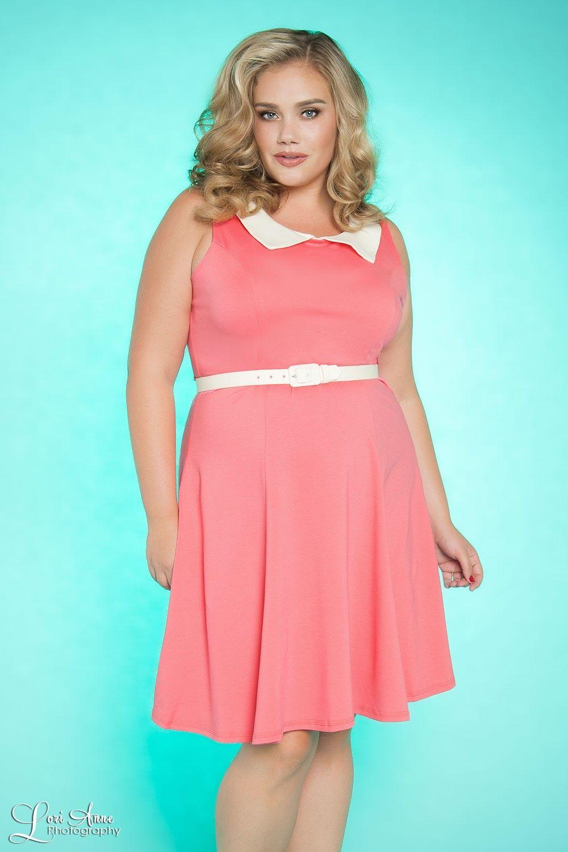 Georgia Peaches Dress in Coral - Plus Size | My Closet | Pinterest