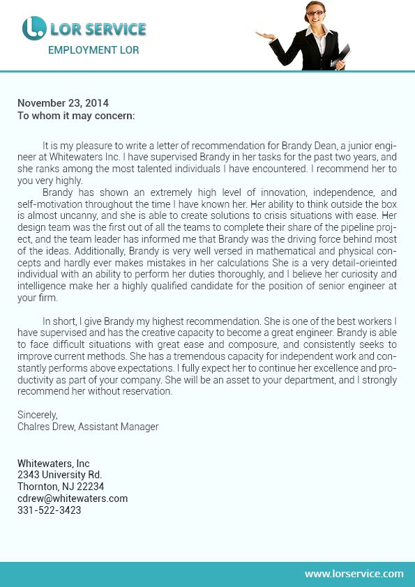 A high quality, concise and correct format Employment Letter can - letter of recommendation for nurse