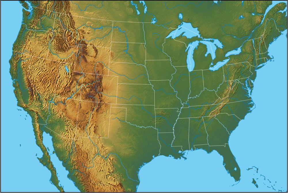 united states of america physical map | Founding fathers ...