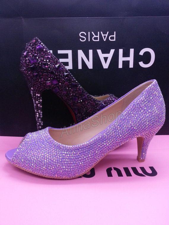 Light Purple Stones Peep Toe Heels Low Bridal By AlinaShop