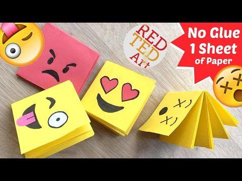 Emoji Mini Notebook DIY One Sheet Of Paper Fun Easy CraftsDiy