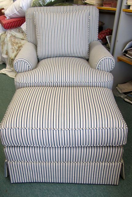 Best Henredon Club Chair And Ottoman In Blue Stripe By 400 x 300