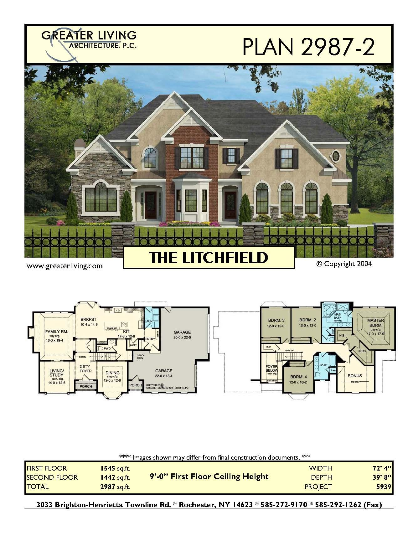 plan 2987 2 the litchfield house plans two story house plans