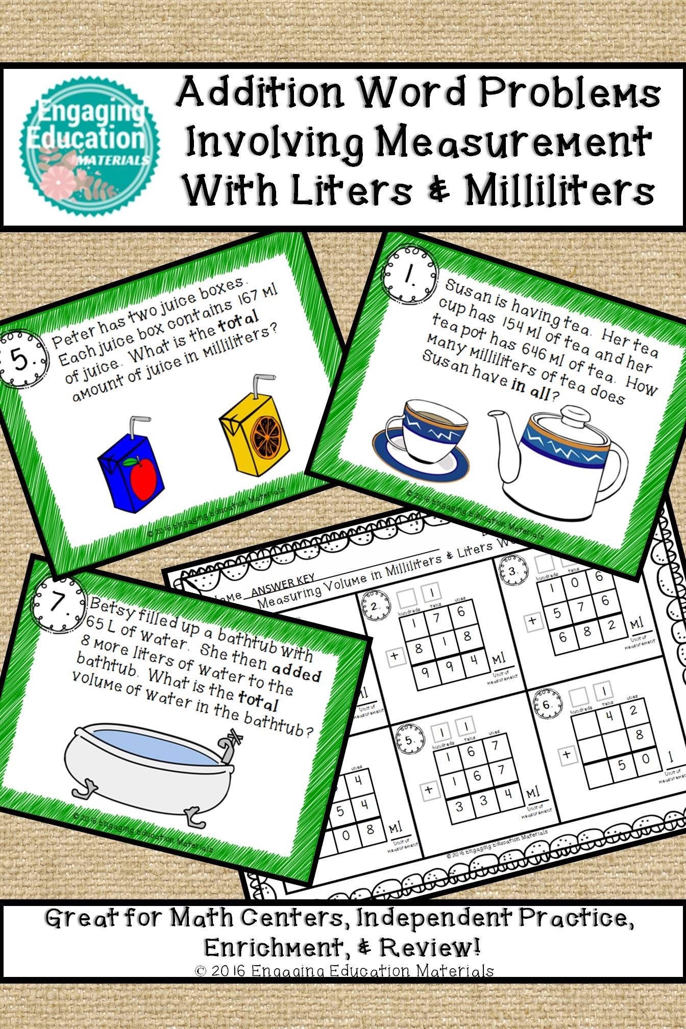 Addition Word Problems Involving Measurement With Liters