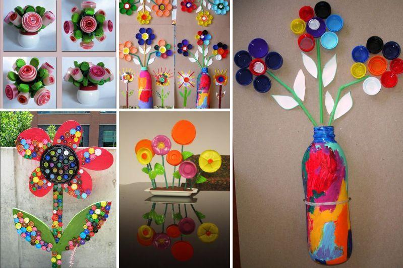 Bricolages avec des bouchons de plastique bouchons plastique et bricolage Bricolage printemps objets naturels idees