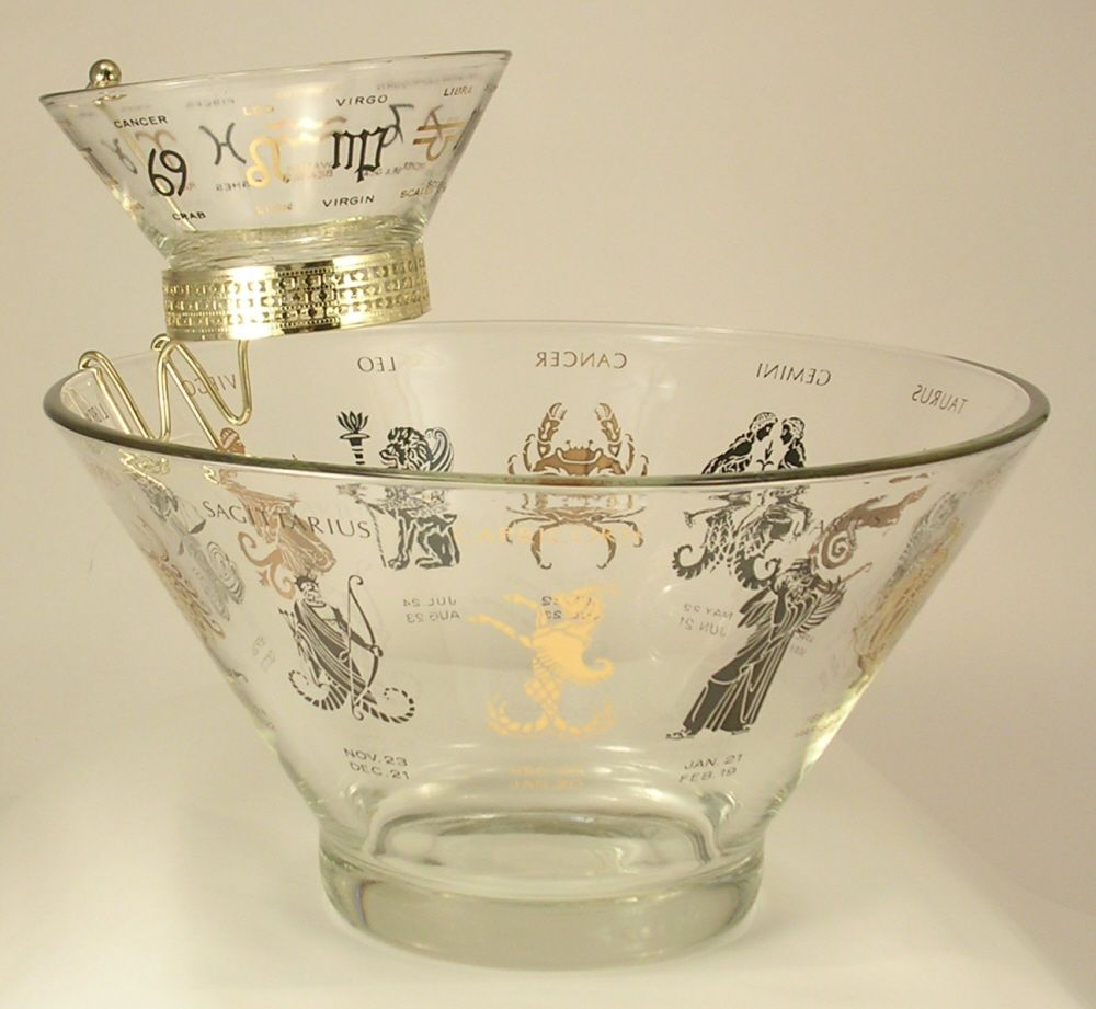 Anchor Hocking Zodiac Chip and Dip Set #500/172 Vintage 1960s