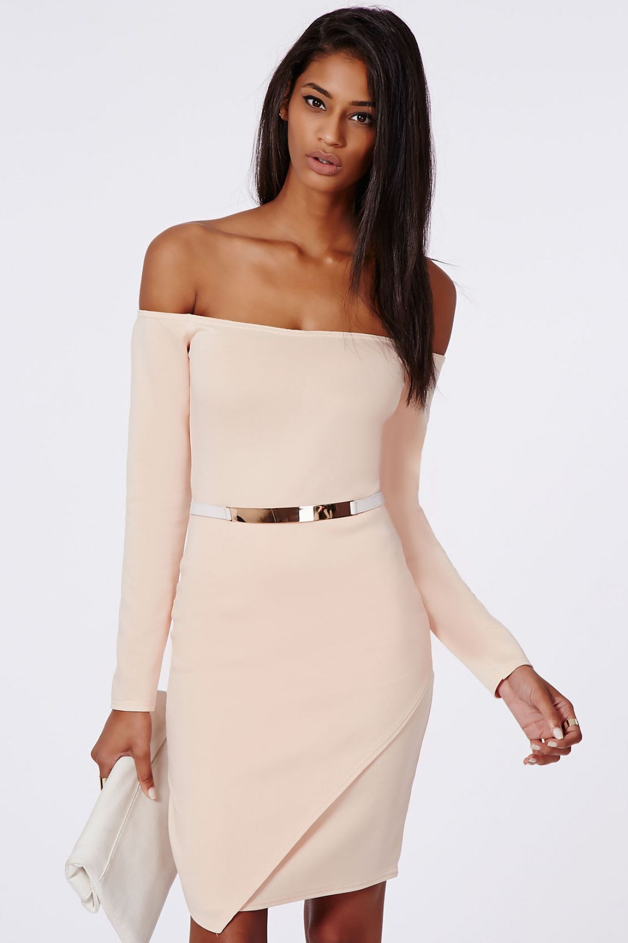 Apricot off the shoulder long sleeve dress clothes iass