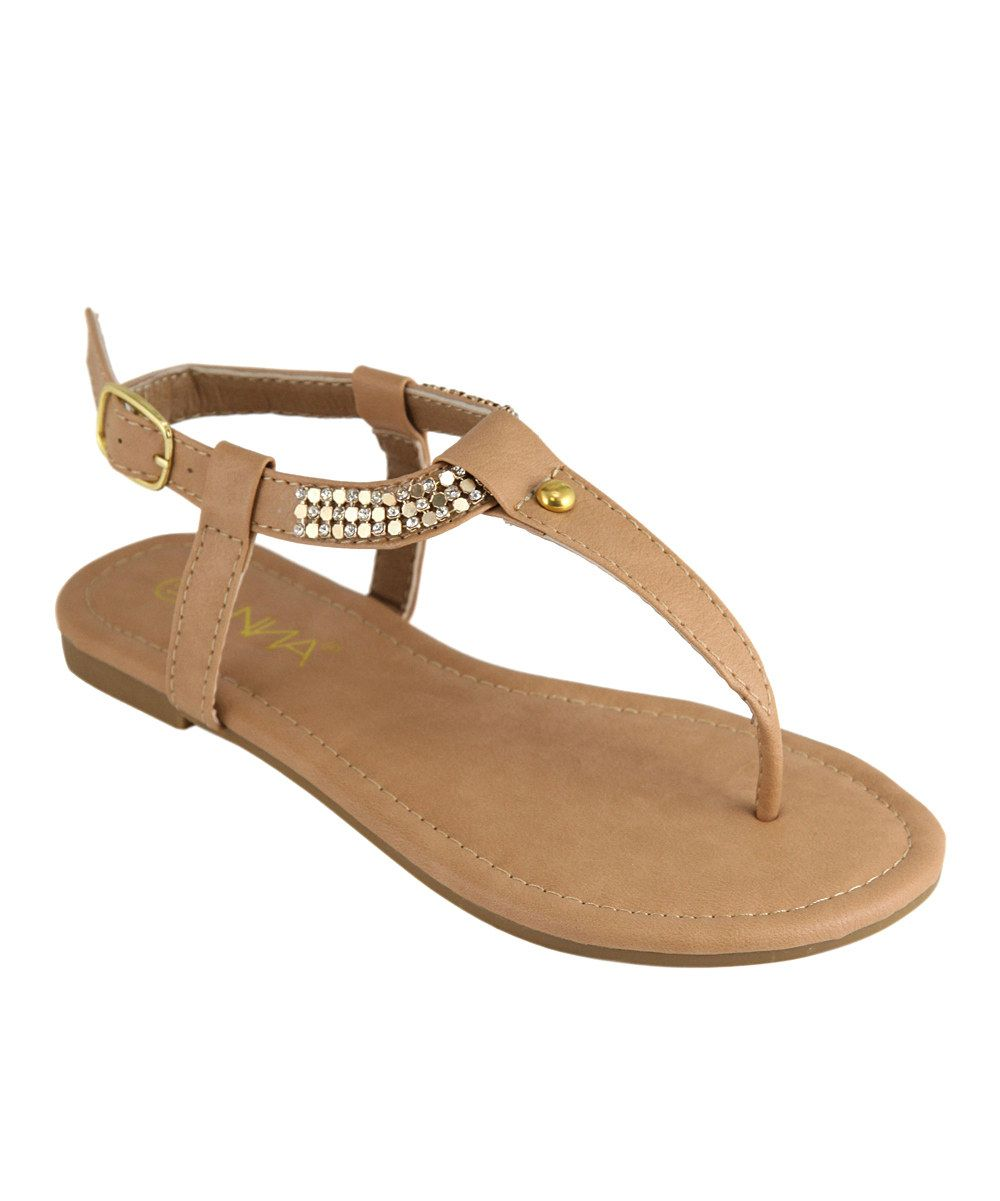 Look what I found on #zulily! Anna Shoes Tan Bead T-Strap Sandal by Anna Shoes #zulilyfinds