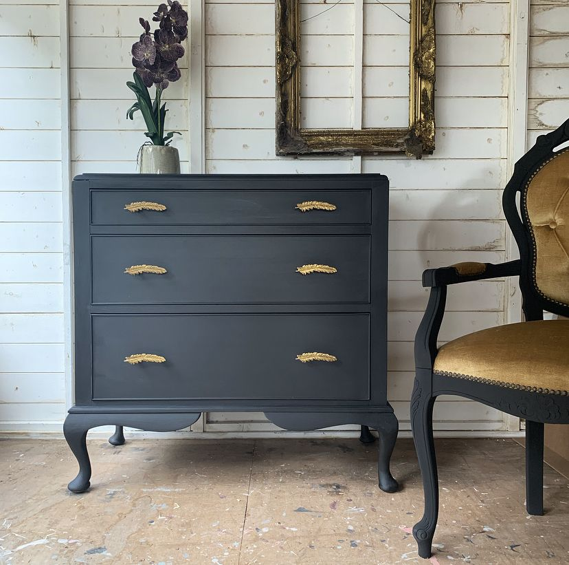Annie Sloan Athenian Black Chest Of Drawers By Bow Boutique Black Chest Of Drawers Annie Sloan Chest Of Drawers