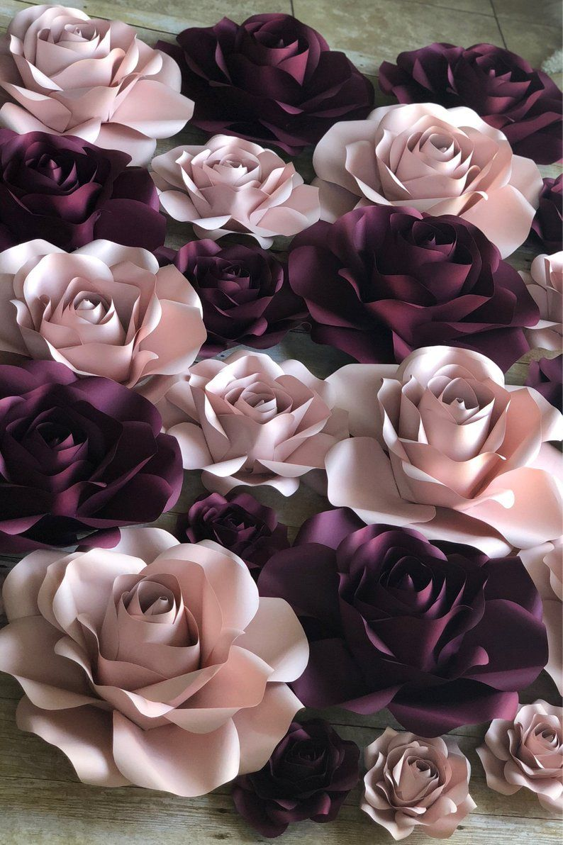 Paper Flowers Backdrop Set of Roses #largepaperflowers