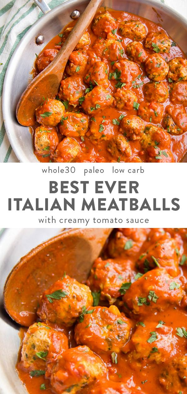 Best Ever Italian Paleo Meatballs with Creamy Tomato Sauce (Whole30, Keto)