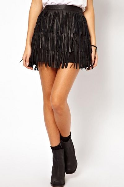 d98dd5d0dec PU Leather Trio Layer Tassel Mini Skirt - OASAP.com | My Xmas ...