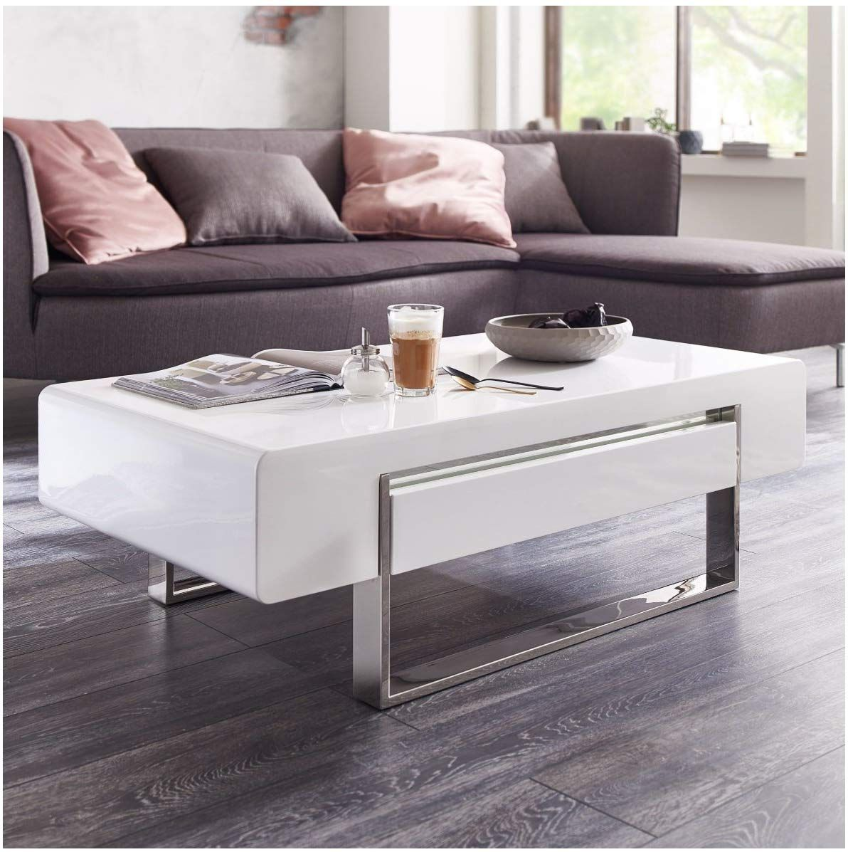 Moebella Couchtisch Weiß Hochglanz Mit Schublade Case 120x60x38cm Wohnzimmertisch Amazon De Küche Haushalt Living Room Table Furniture Coffee Table