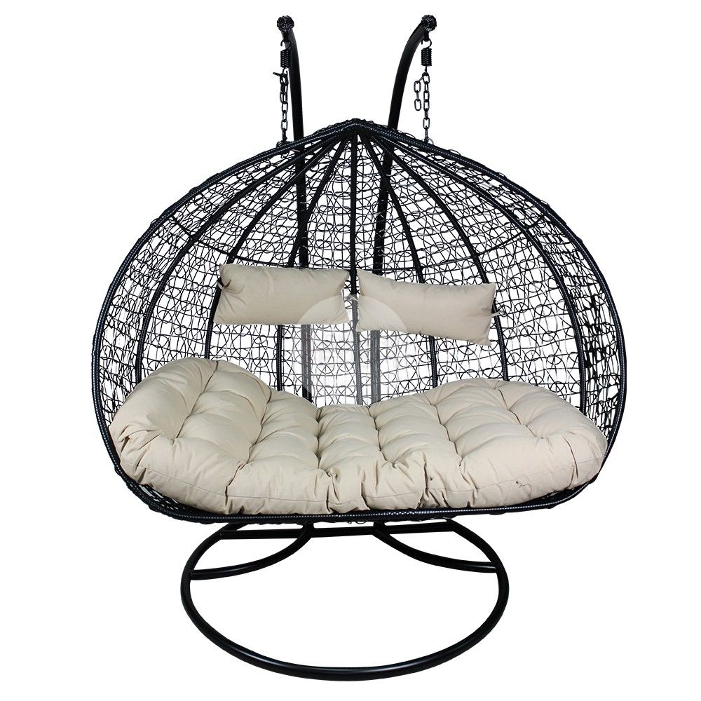 Egg Wicker Chairs Outdoor Rocky Oversized Folding Arm Chair Xl Double And A Half Hanging Rattan Furniture Black Cream
