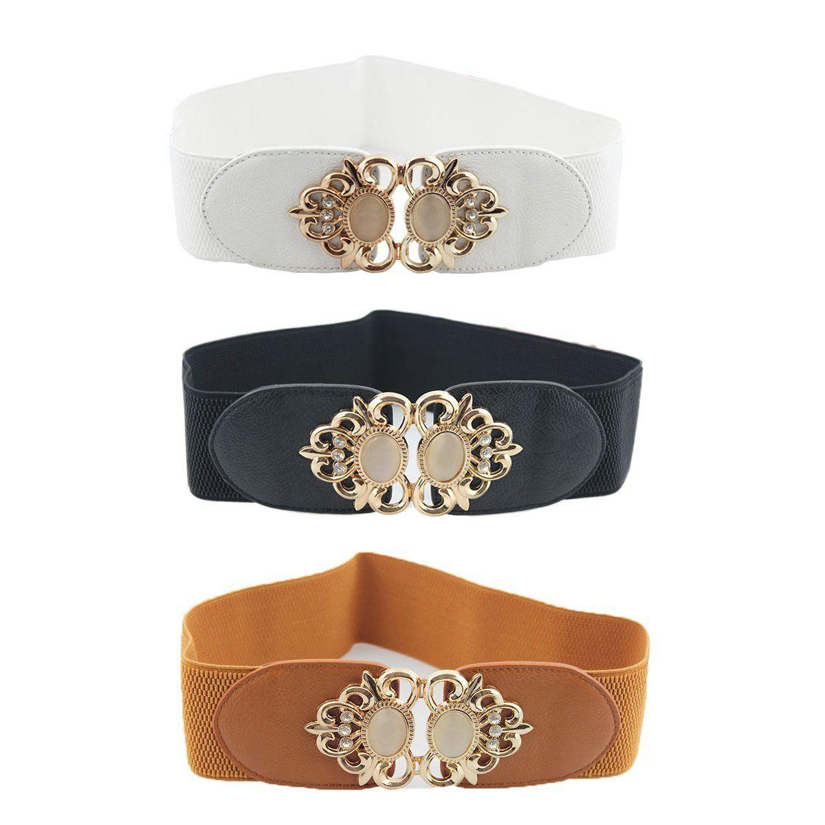 2 Pack Womens Vintage Waist Belt Wide Elastic Stretch Retro Cinch Belt