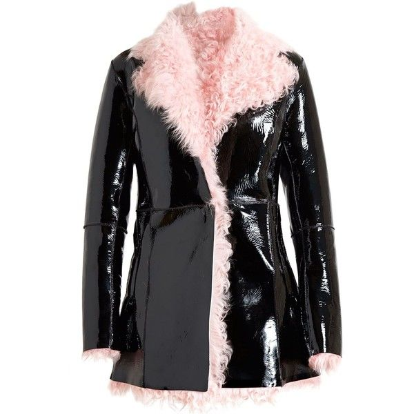 Black leather jacket with pink lining