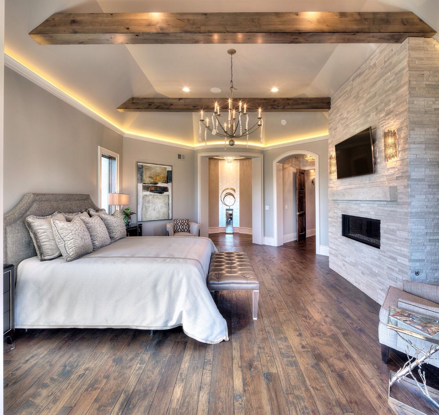 Master Bedroom - Wood Floors & Wood Beams