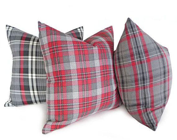 Red Grey Pillows Plaid Lumbar Pillow 12x18 14x18 Red