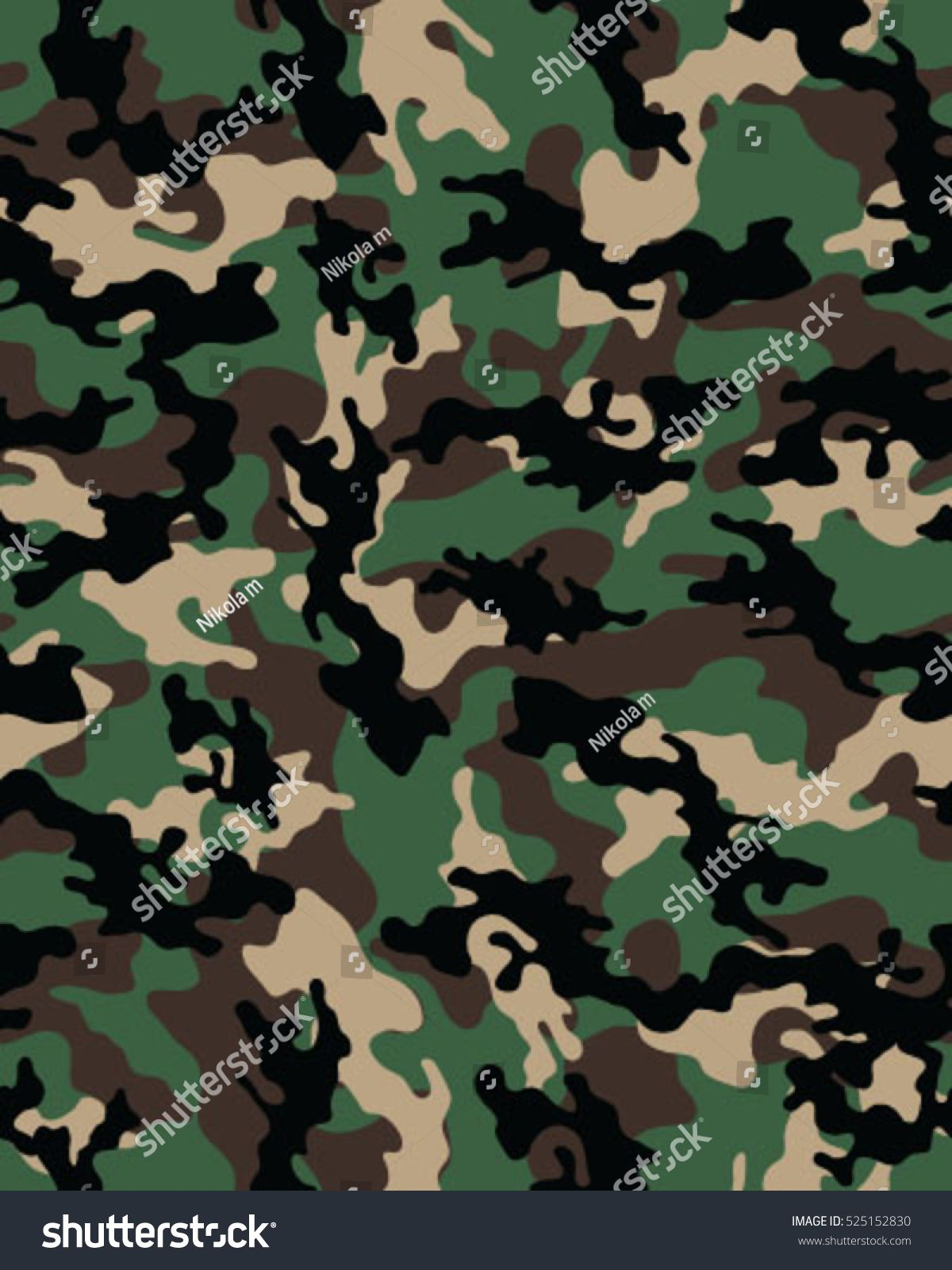 Fashionable Camouflage Pattern Vector Illustration Millatry Print