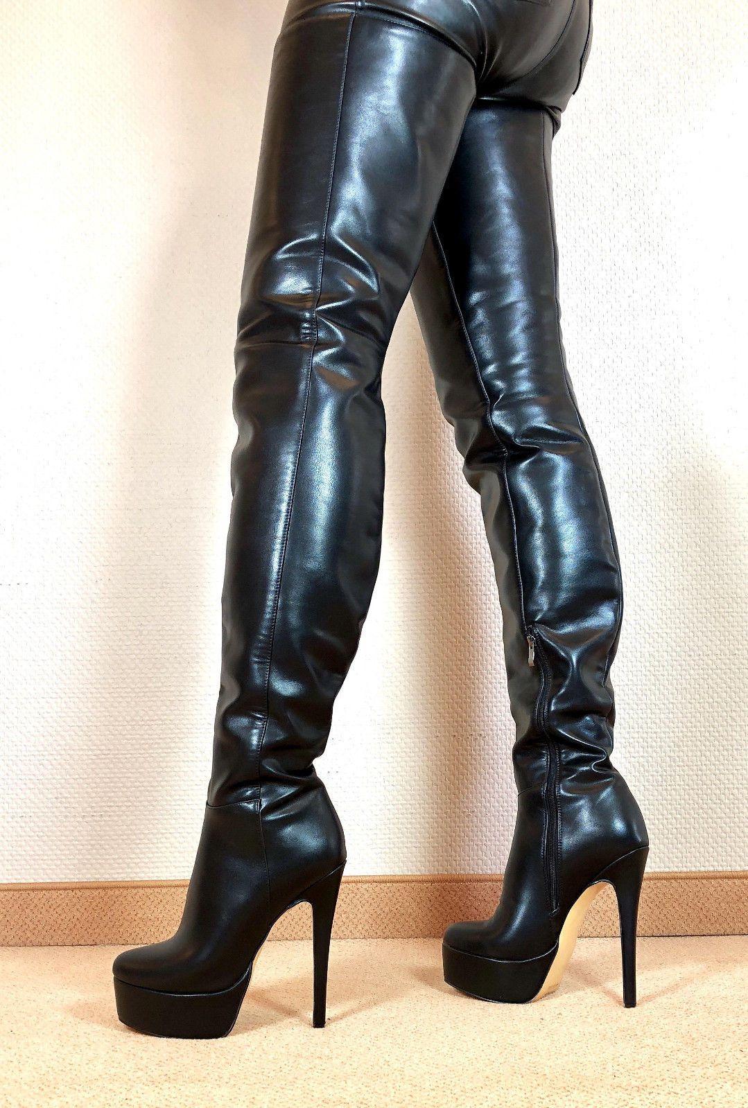 a7542f4212bd72 Exklusiv Sexy Damen Schuhe Overknee Stiletto Stiefel Männer Boots E9