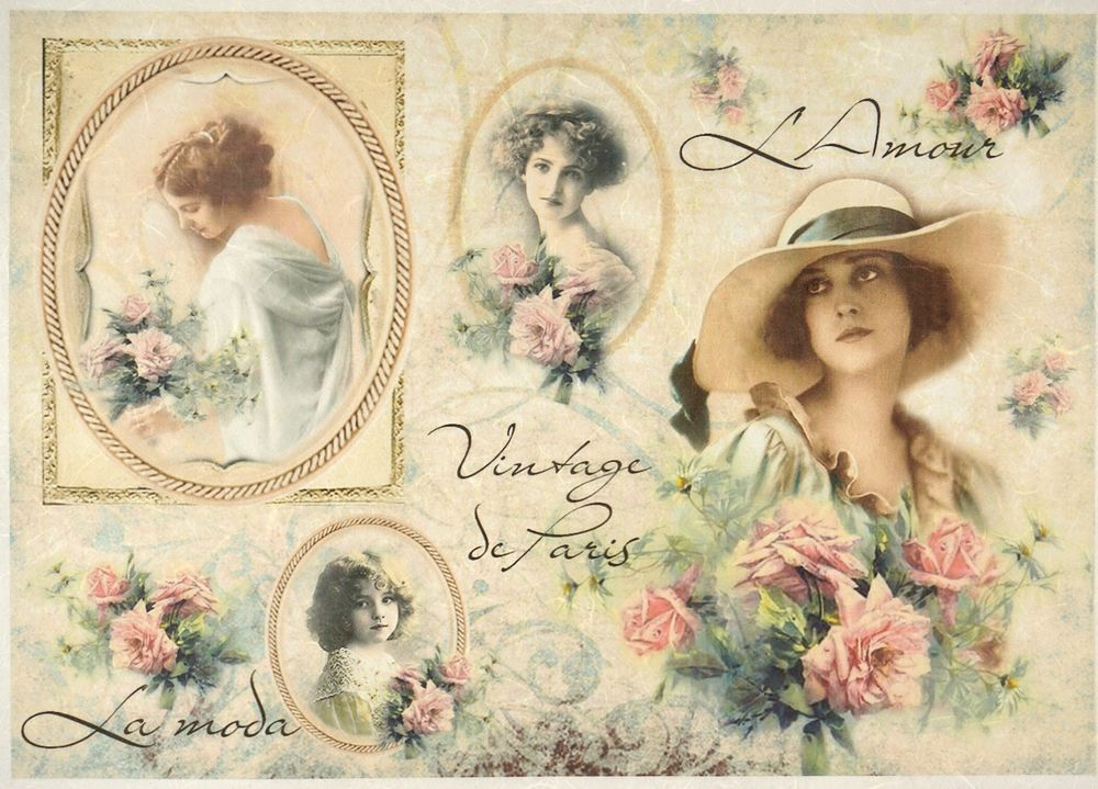 Rice Paper Vintage Lady and Roses for Decoupage Decopatch Scrapbook Craft Sheet