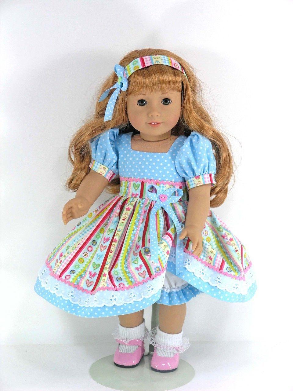 Doll Clothes for American Girl Mary Ellen - Dress, Headband ...