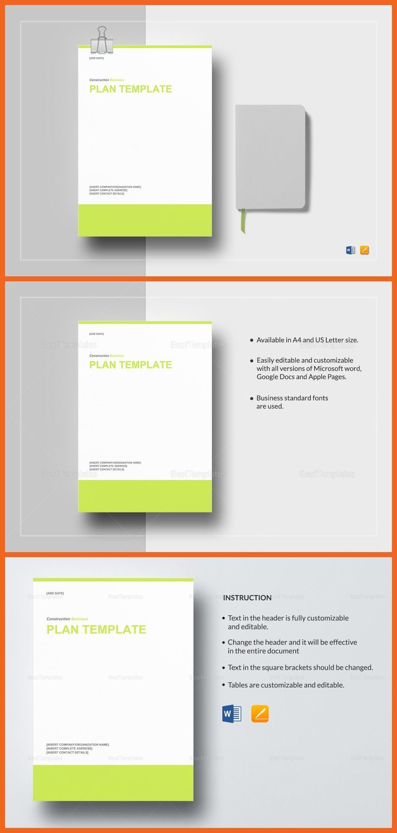 construction business plan template 29 formats included ms word